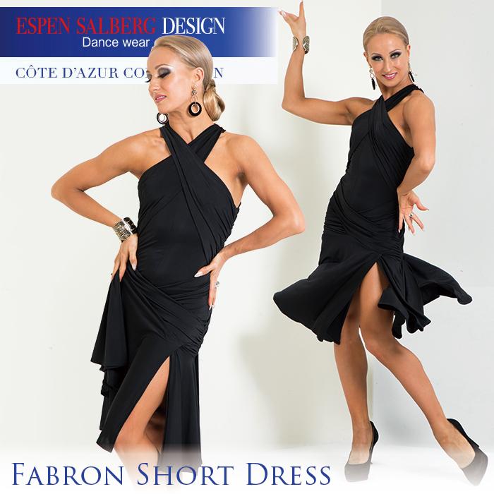 社交ダンス 練習着 ラテンドレス エスパン サルバーグ ESPEN SALBERG ファブロンショートドレス(ブラック) 膝丈 ワンピース レディース 女性 XS-L 黒 限定品 海外