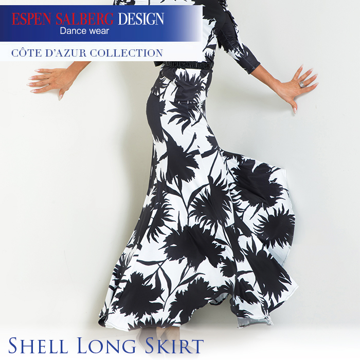 社交ダンス 練習着 スカート エスパン サルバーグ ESPEN SALBERG シェルロングスカート(プリント) モダン ロング スカート レディース 女性 XS-L 黒 プリント 2色展開 限定品 海外