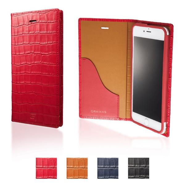 【公式】 GRAMAS グラマス iPhone8 Plus / iPhone7 Plus ケース 手帳型 手帳 Croco Patterned Full Leather Case 送料無料
