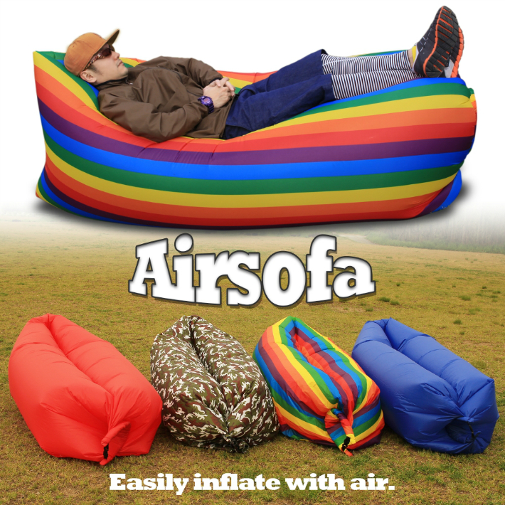 Extreme Pority Rainbow Camouflage Color Air Sofa Bed Airsofa Airbed Beach Cushion Outdoor