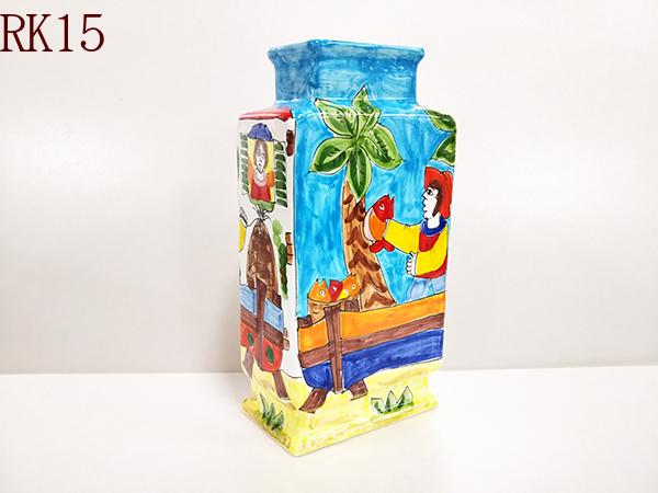 ※すべて一点ものです 花瓶 角型花瓶 フラワーベース 至高 イタリア製 イタリア陶器 ハンドメイド 国産品 W18×H38 シチリア産 インテリア用品