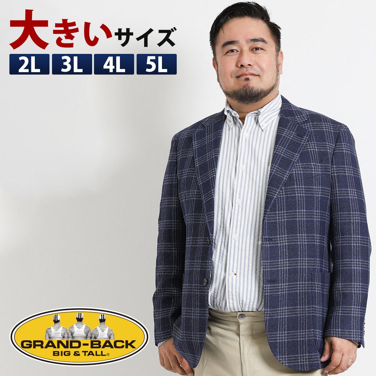 【大きいサイズ・メンズ】アレキサンダージュリアン ウールリネンウィンドペン 2釦シングルジャケット  グランバック 大きいサイズ