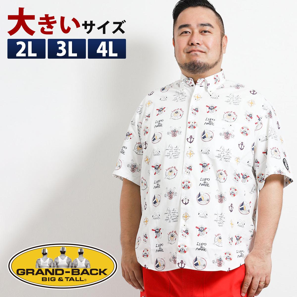 【大きいサイズ・メンズ】シナコバ/SINA COVA ブロード総柄プリントボタンダウン半袖シャツ グランバック 大きいサイズ