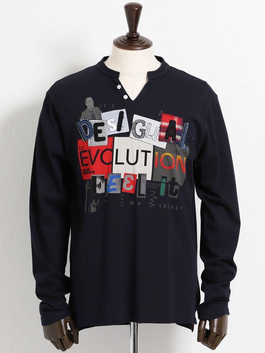 【大きいサイズ・メンズ】デシグアル/Desigual 前身デザイン クルーネック長袖Tシャツ  グランバック 大きいサイズ