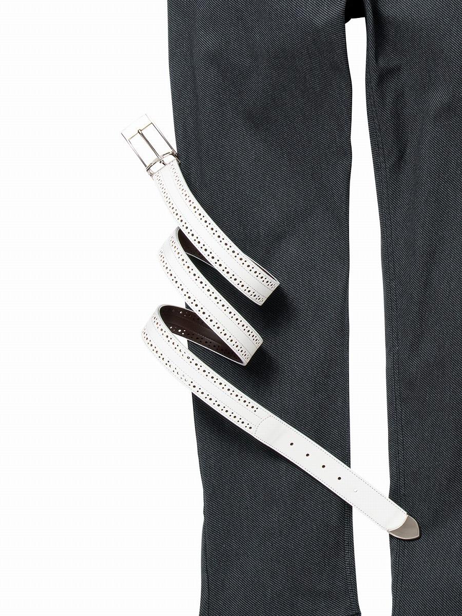 【大きいサイズ・メンズ】グランバック/GRAND-BACK 日本製 サイドドットパンチング レザーシングルピンベルト  グランバック 大きいサイズ