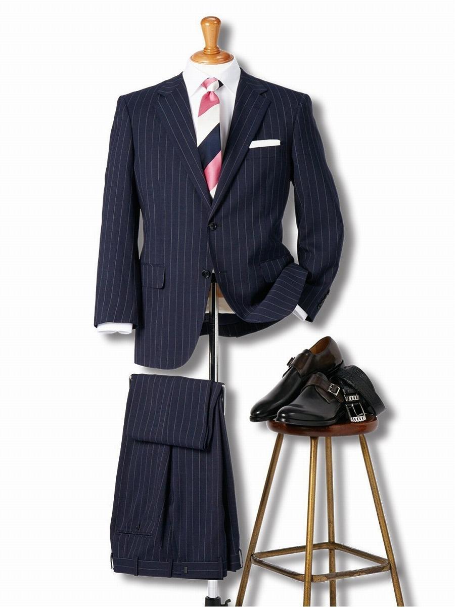 【大きいサイズ】グランバック/GRAND-BACK ウール混ナチュラルストレッチ2釦2ピーススーツ 紺ストライプ