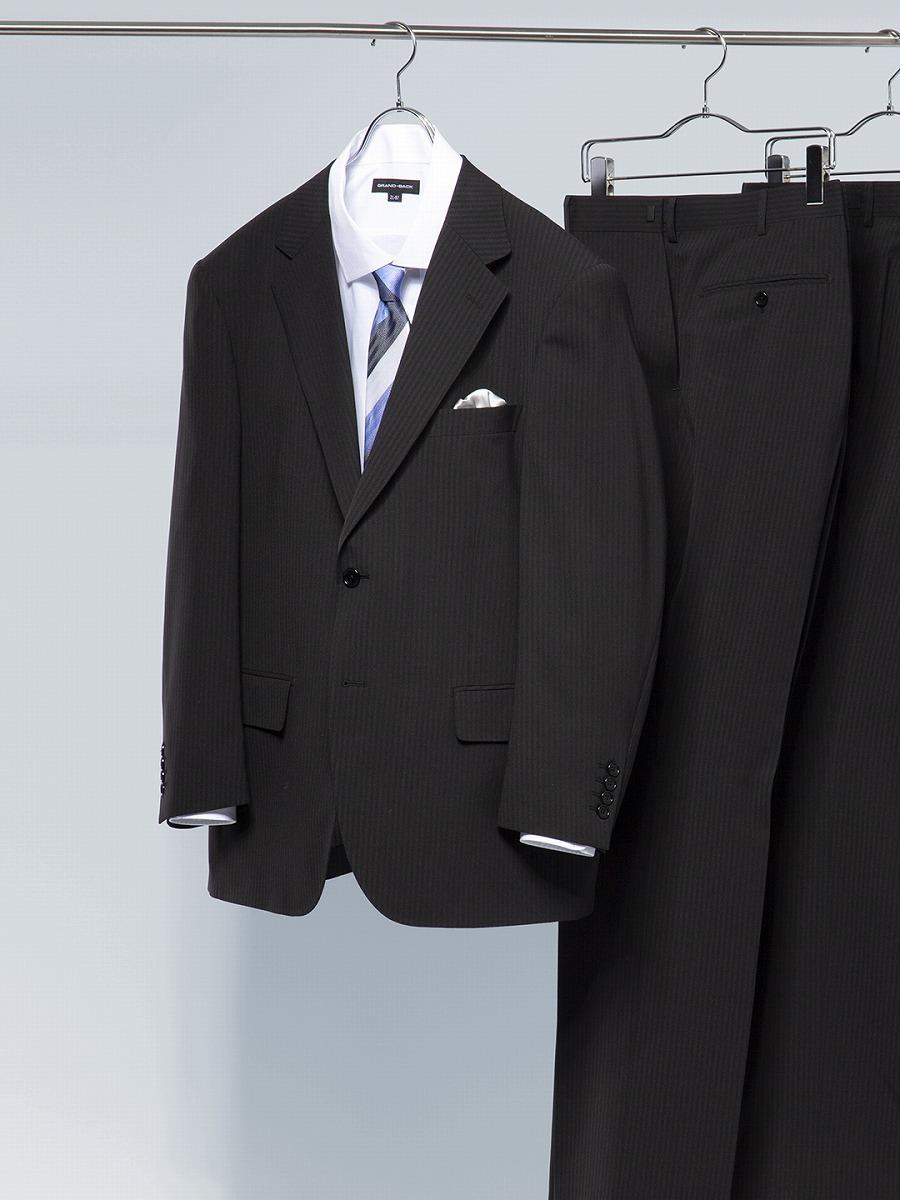 正規店 大きいサイズ メンズ グランバック2L 3L 4L 5L TRABEST 即出荷 トラベスト 2パンツスーツ グランバック GRAND-BACK シャドーストライプ黒