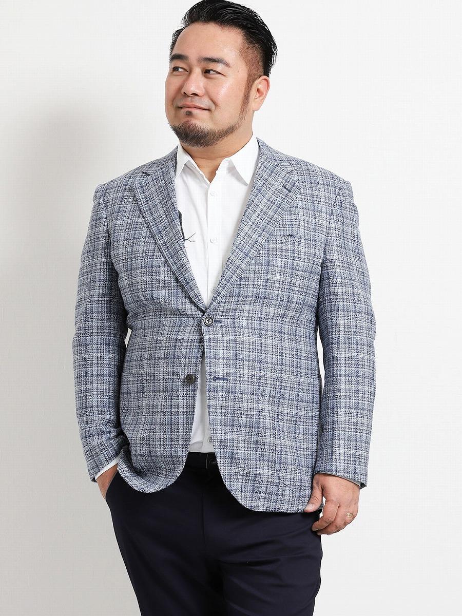 【大きいサイズ・メンズ】アレキサンダージュリアン ウール混チェック 2釦シングルジャケット グランバック 大きいサイズ