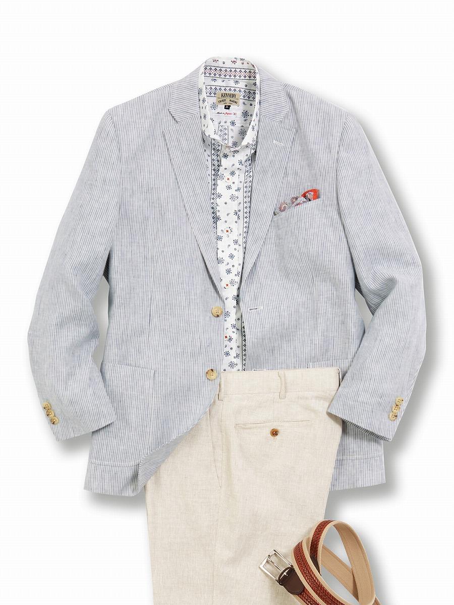 【大きいサイズ・メンズ】グランバック/GRAND-BACK フレンチリネンストライプ 2釦シングルジャケット グランバック 大きいサイズ