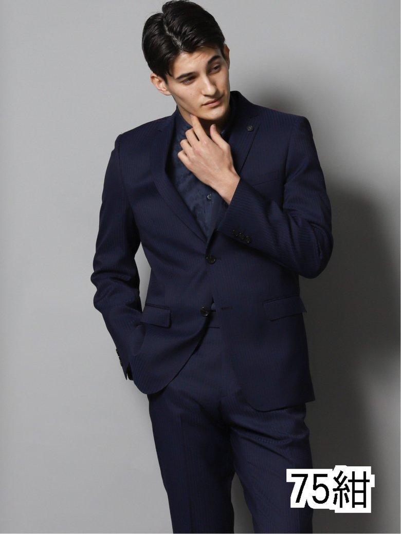 光沢スリムフィット2ピーススーツ シャドーヘリンボン紺