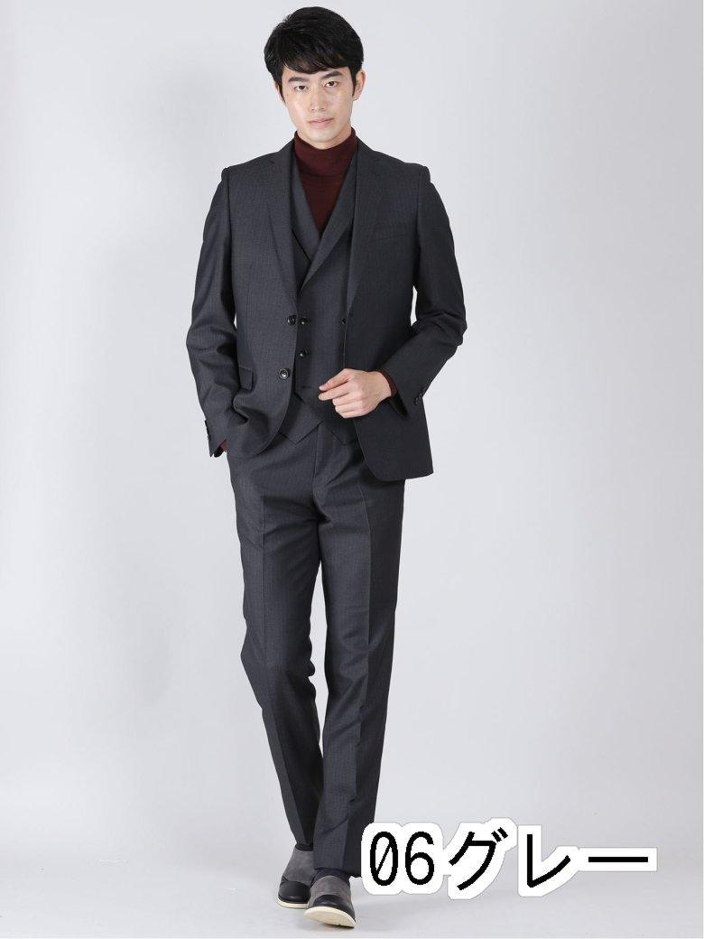 光沢スリムフィット2ボタン3ピーススーツ メランジストライプ グレー 通信販売 卓出 スリムスタイルスーツ