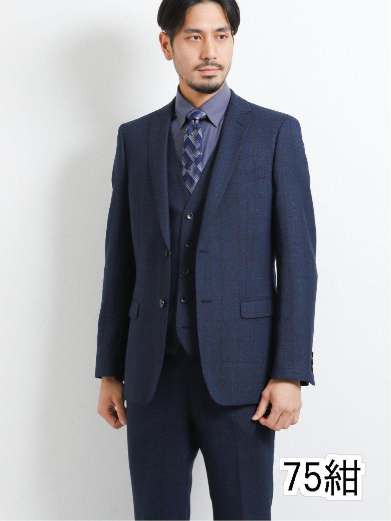 【秋の新作】ウール混スリムフィット2ボタン3ピーススーツ ウィンドペン紺
