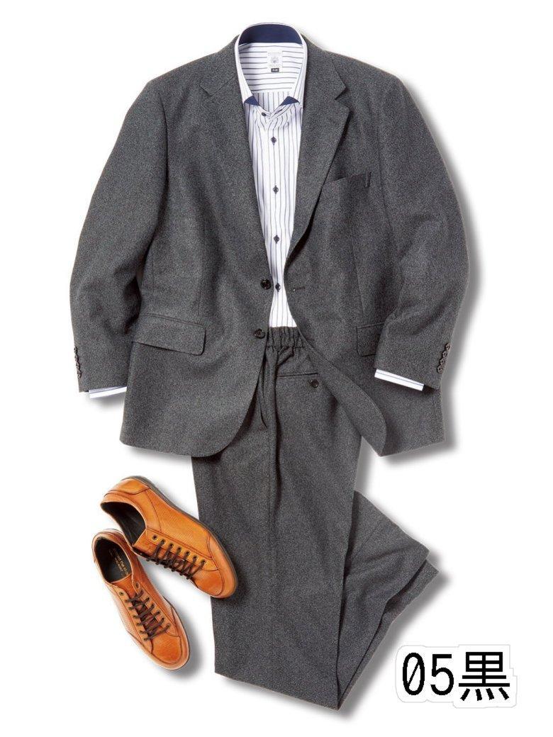 【大きいサイズ】グランバック/GRAND-BACK トラベスト/TRABEST 2釦2ピーススーツ 黒杢ニット