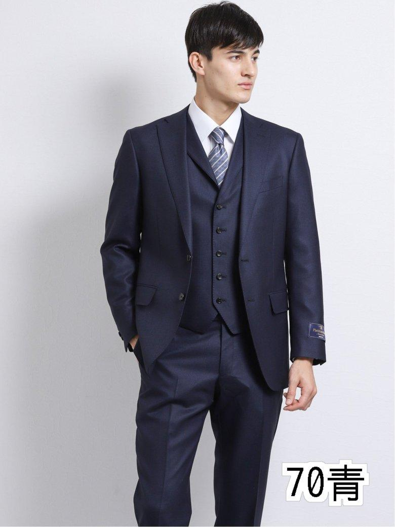 【メンズ】ウール100% SUPER140'S レギュラーフィット2釦2ピーススーツ 青バーズアイ