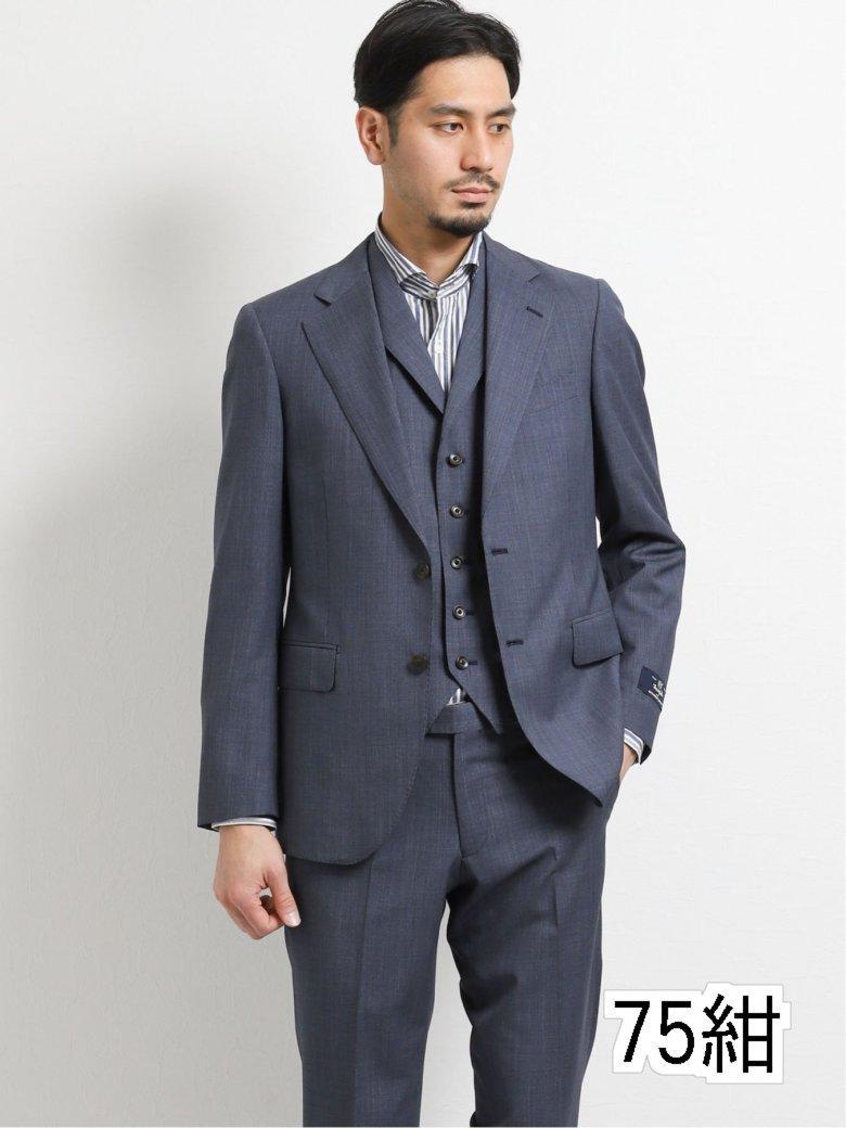 マルゾット/MARZOTTO ウール スリムフィット2釦3ピーススーツ 紺マイクロ
