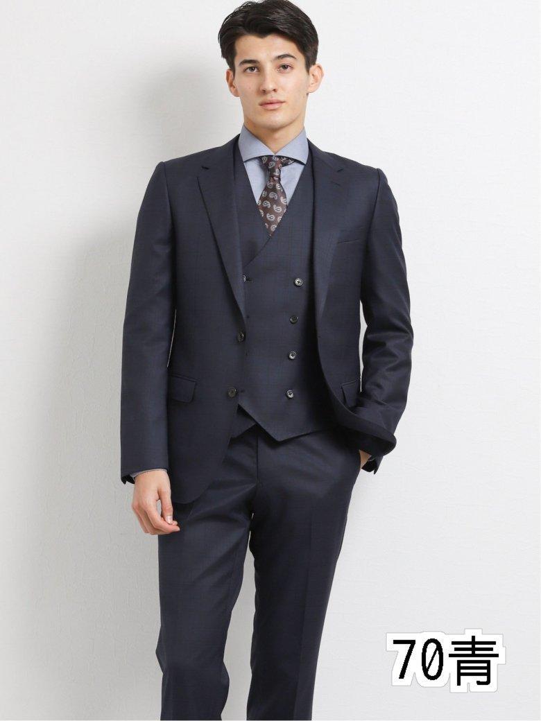 【メンズ】ストレッチ光沢ウール混 スリムフィット2釦3ピーススーツ チェック紺