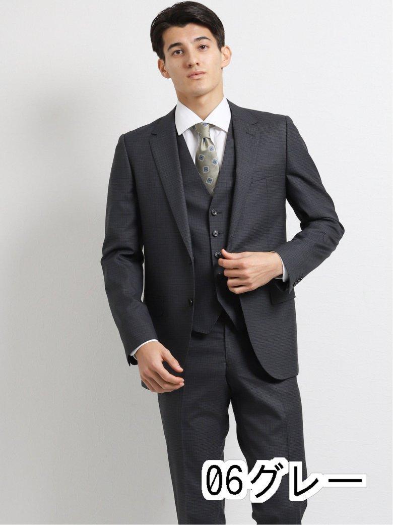 【メンズ】ストレッチ光沢ウール混 スリムフィット2釦3ピーススーツ マイクロチェック紺