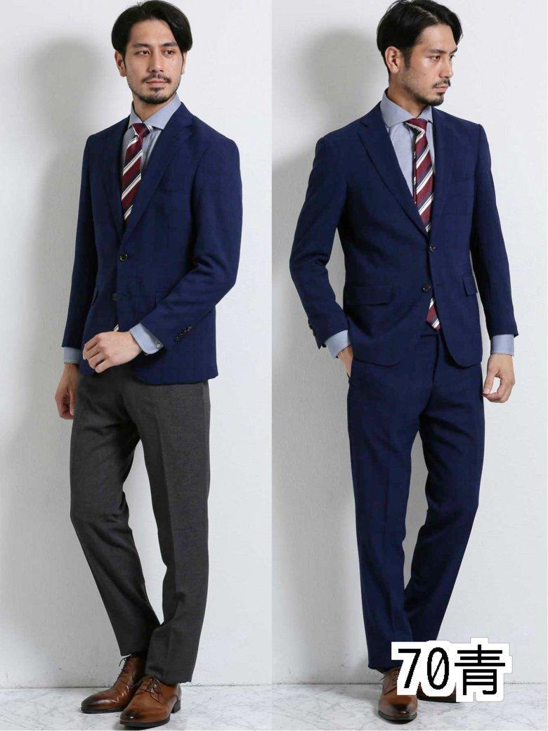 【メンズ】トラベスト/TRABEST コーディネート2パンツ レギュラーフィット2釦スーツ 紺ウィンドペン