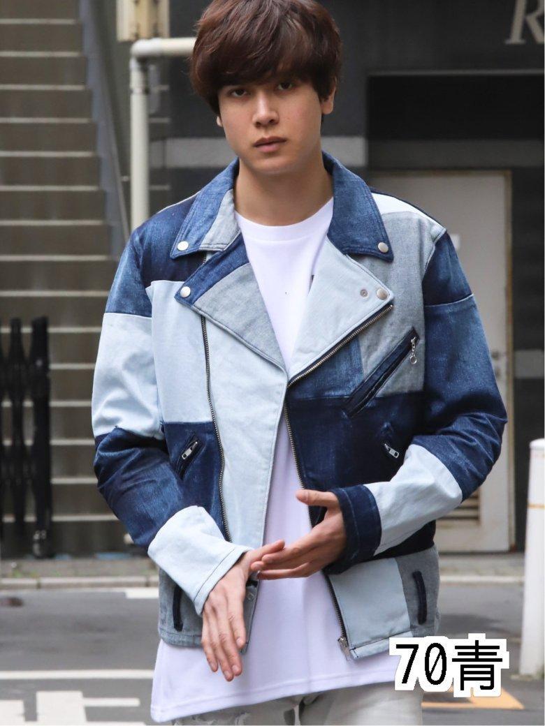 限定モデル 70周年記念 MADE IN JAPAN 爆買い送料無料 デニム切替ダブルライダース ライダースジャケット メンズ
