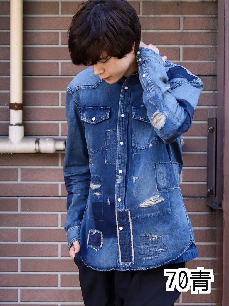【70周年記念】MADE IN JAPAN インディゴパッチワーク長袖シャツ