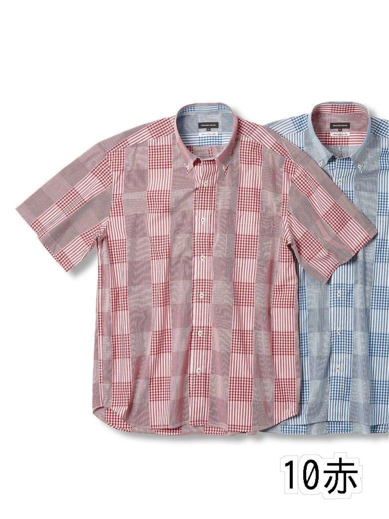 【大きいサイズ】グランバック/GRAND-BACK ブロードパッチワーク風 ボタンダウン半袖シャツ