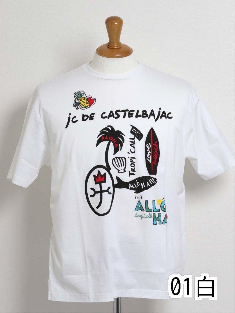 【大きいサイズ】カステルバジャック/CASTELBAJAC 天竺プリントクルーネック半袖Tシャツ