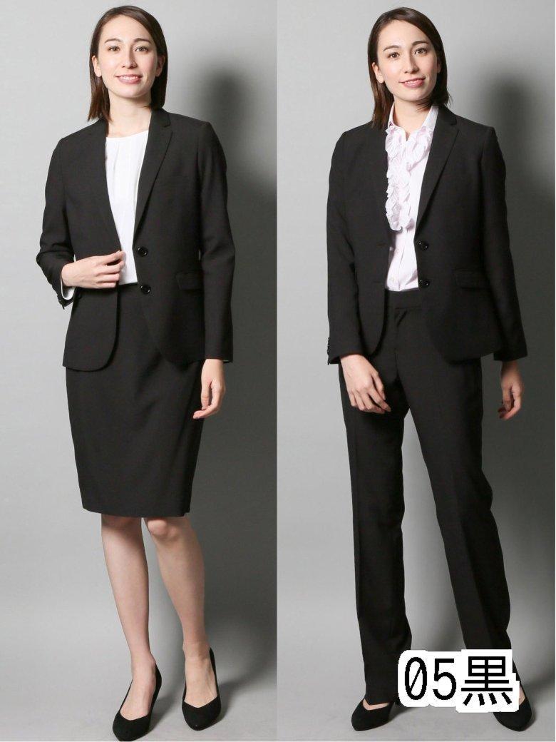 【レディース】高機能ポリエステル 2釦ジャケット+スカート+パンツ 黒シャドーストライプ