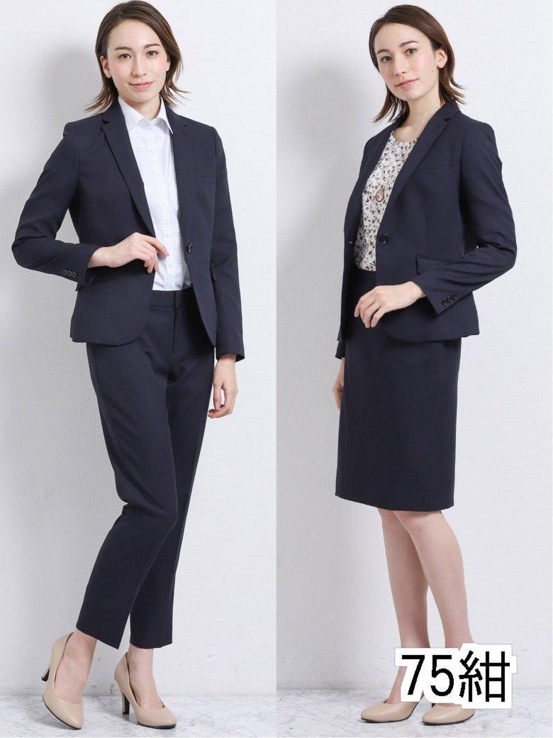 【レディース】高機能ポリエステル 1釦ジャケット+スカート+パンツ 紺カルゼ