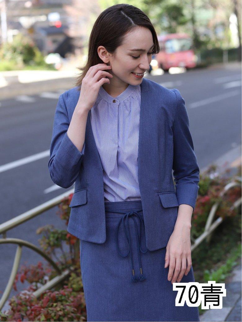 高機能リネン混セットアップ Vカラー7分袖ジャケット 青
