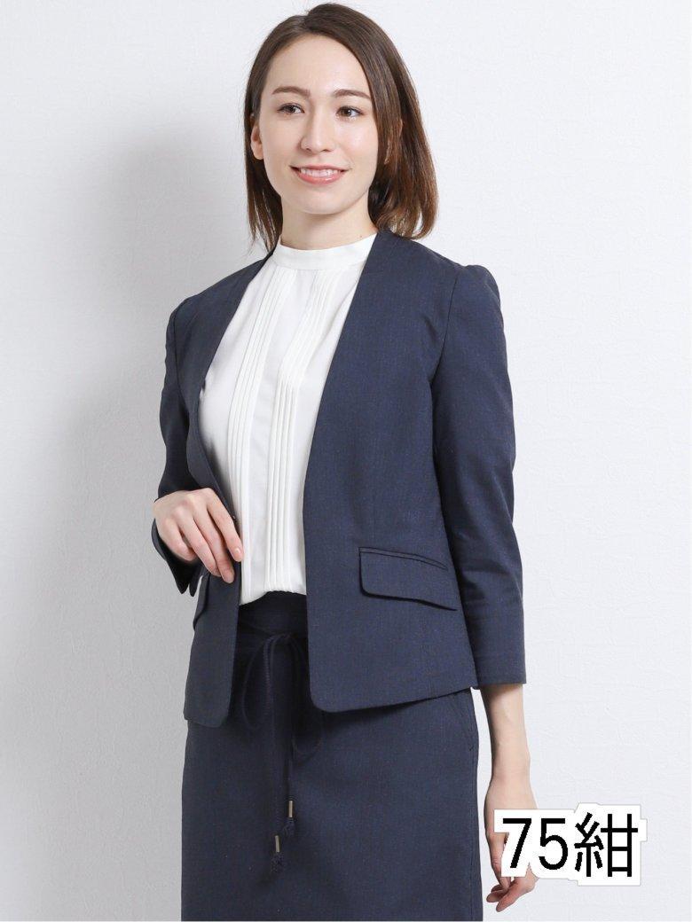 高機能リネン混セットアップ Vカラー7分袖ジャケット 紺