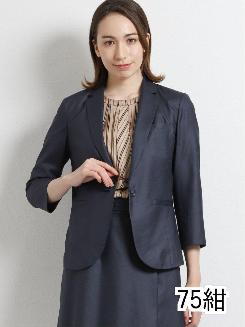 ボンフォルト/BONNEFORTE セットアップ1釦8分袖テーラージャケット 紺