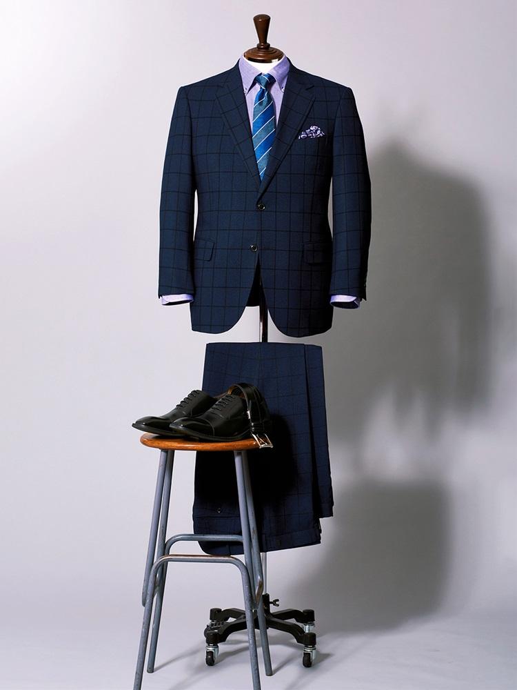 【大きいサイズ・メンズ】トラベスト チェック紺ノータック2パンツスーツ
