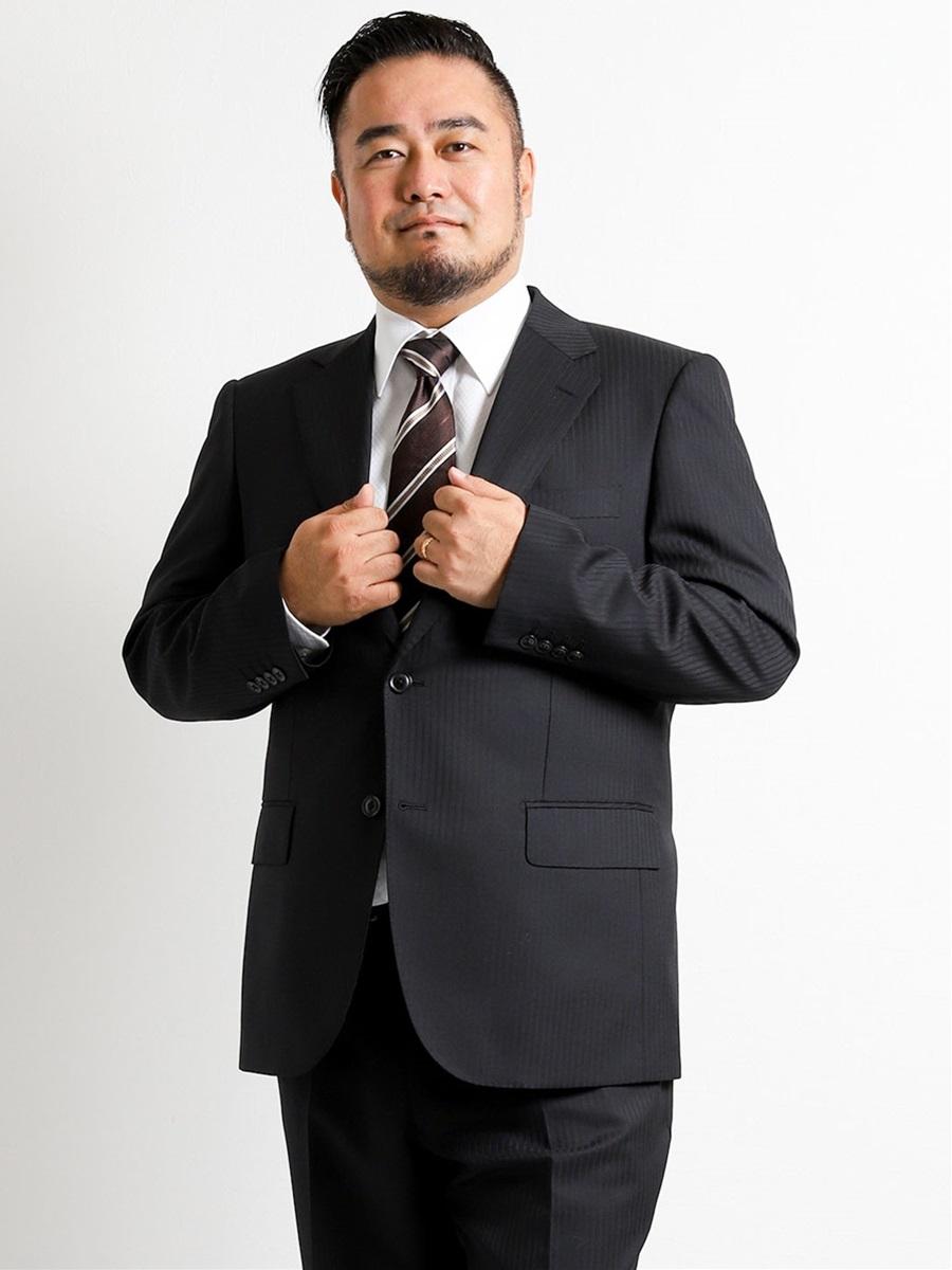 【大きいサイズ・メンズ】洗えるスラックス ストライプ黒ノータック2パンツスーツ