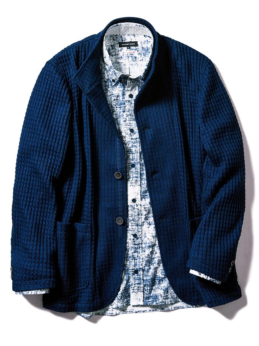 【大きいサイズ・メンズ】オニワッフル2釦シングルスタンドジャケット