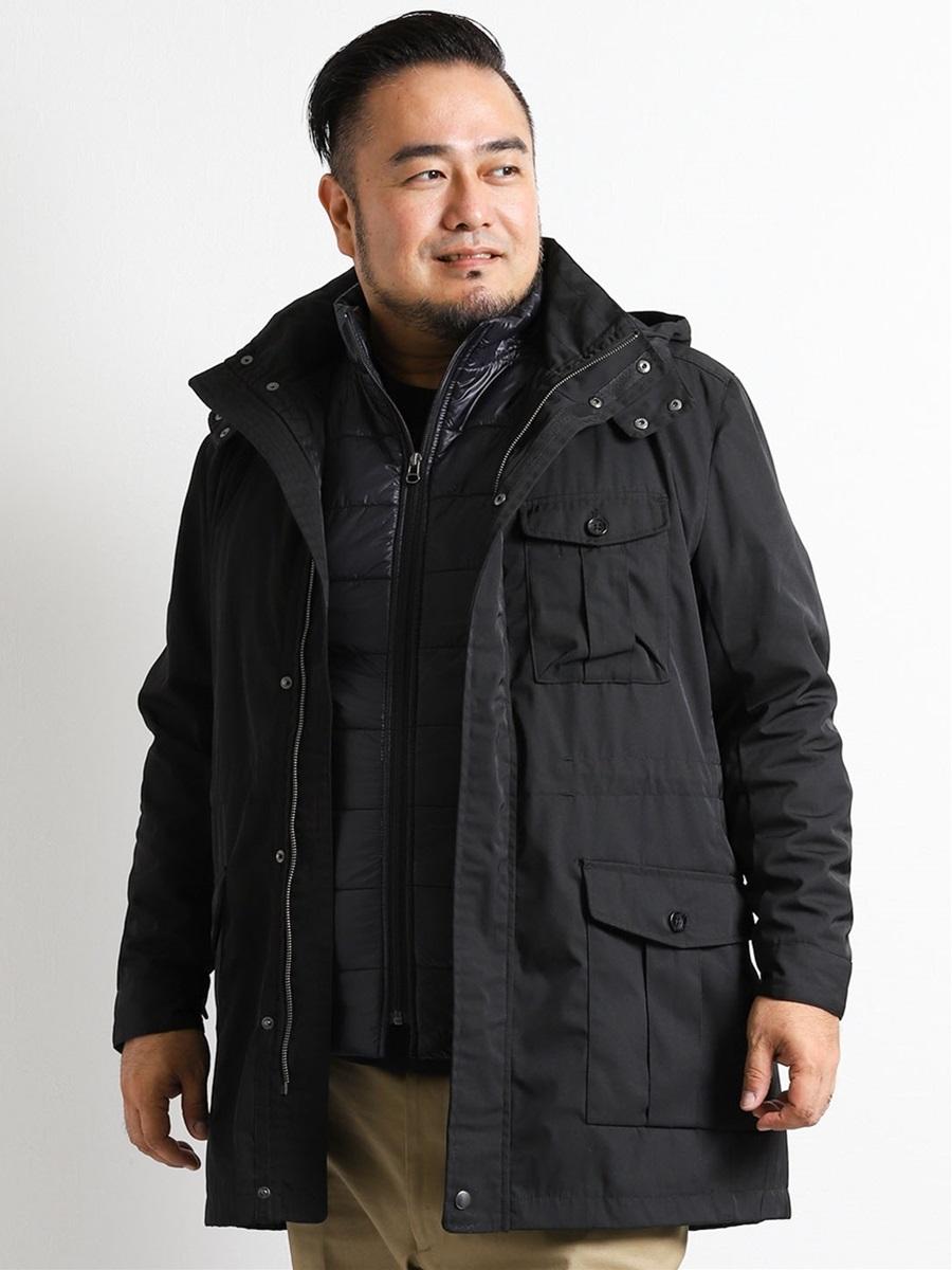 【大きいサイズ・メンズ】メモリーステンフード付き3WAYコート
