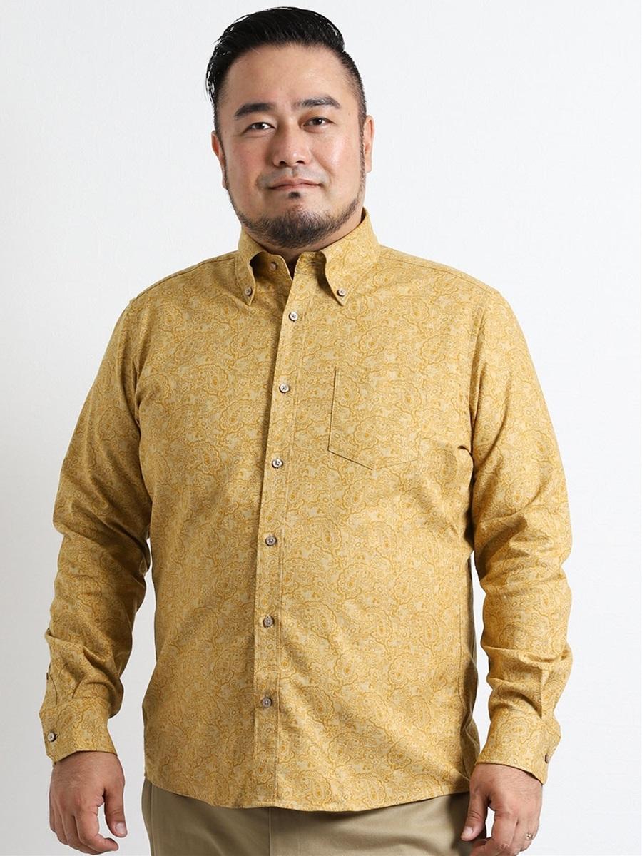 【大きいサイズ・メンズ】INTERMEZZO (インターメッツォ)ペイズリージャガード長袖シャツ