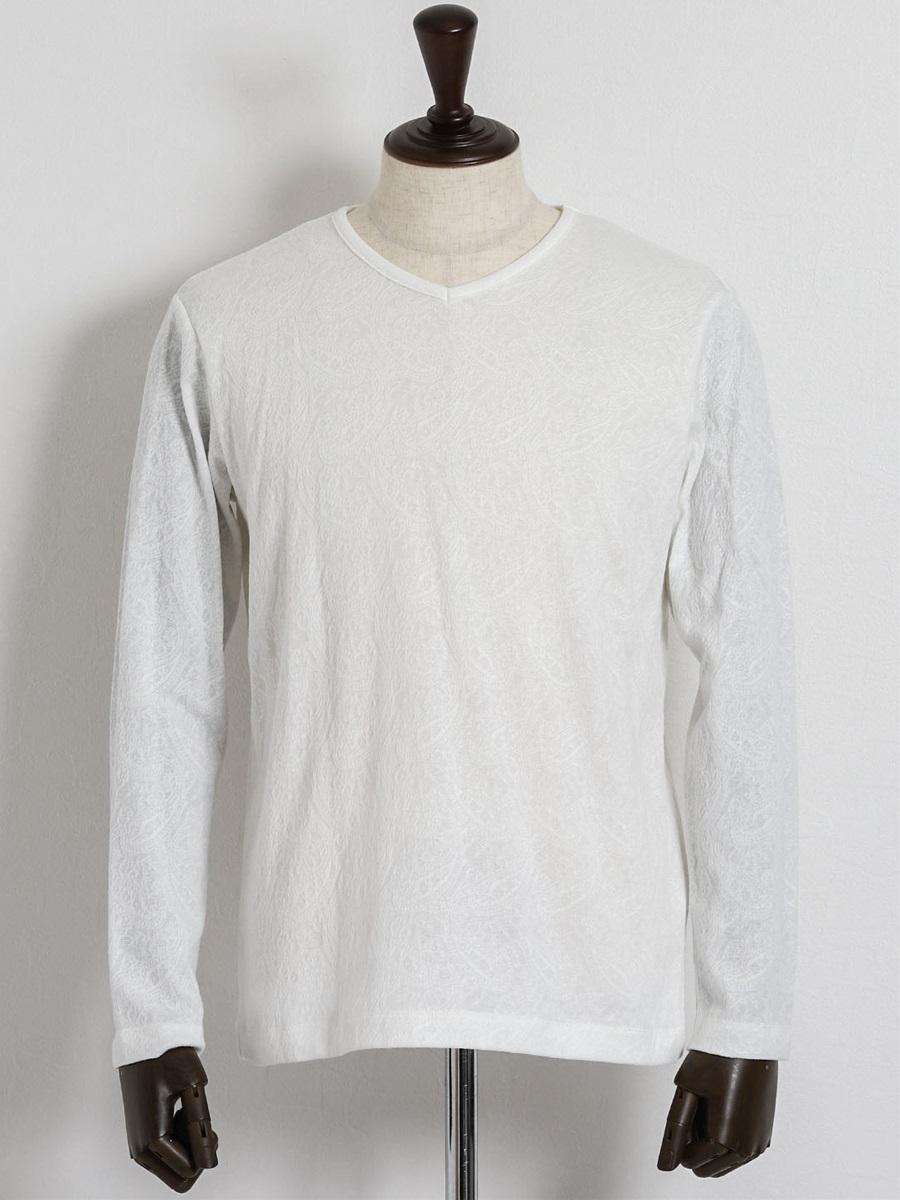 【大きいサイズ・メンズ】INTERMEZZO (インターメッツォ)シャドージャガード柄クルーネック長袖Tシャツ