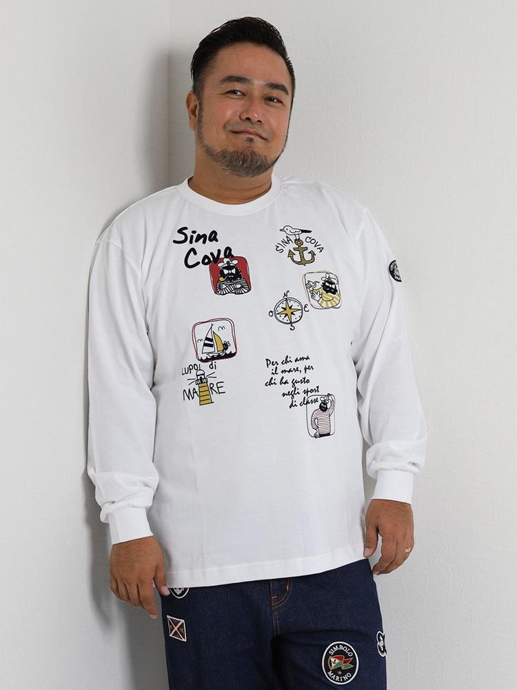 【大きいサイズ・メンズ】SINA COVA (シナコバ) 刺繍長袖Tシャツ