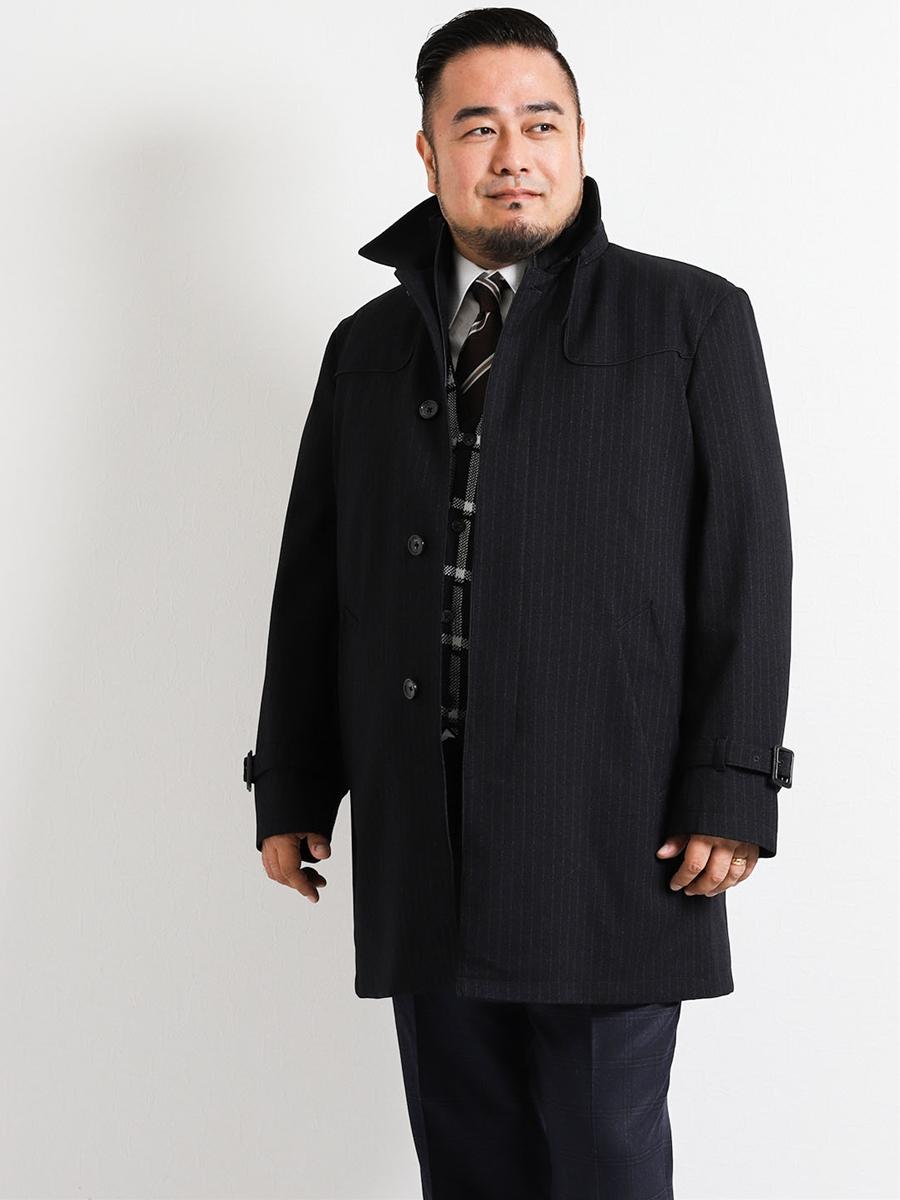 【大きいサイズ・メンズ】撥水防風ウイングカラーレイヤードコート アムンゼン紺