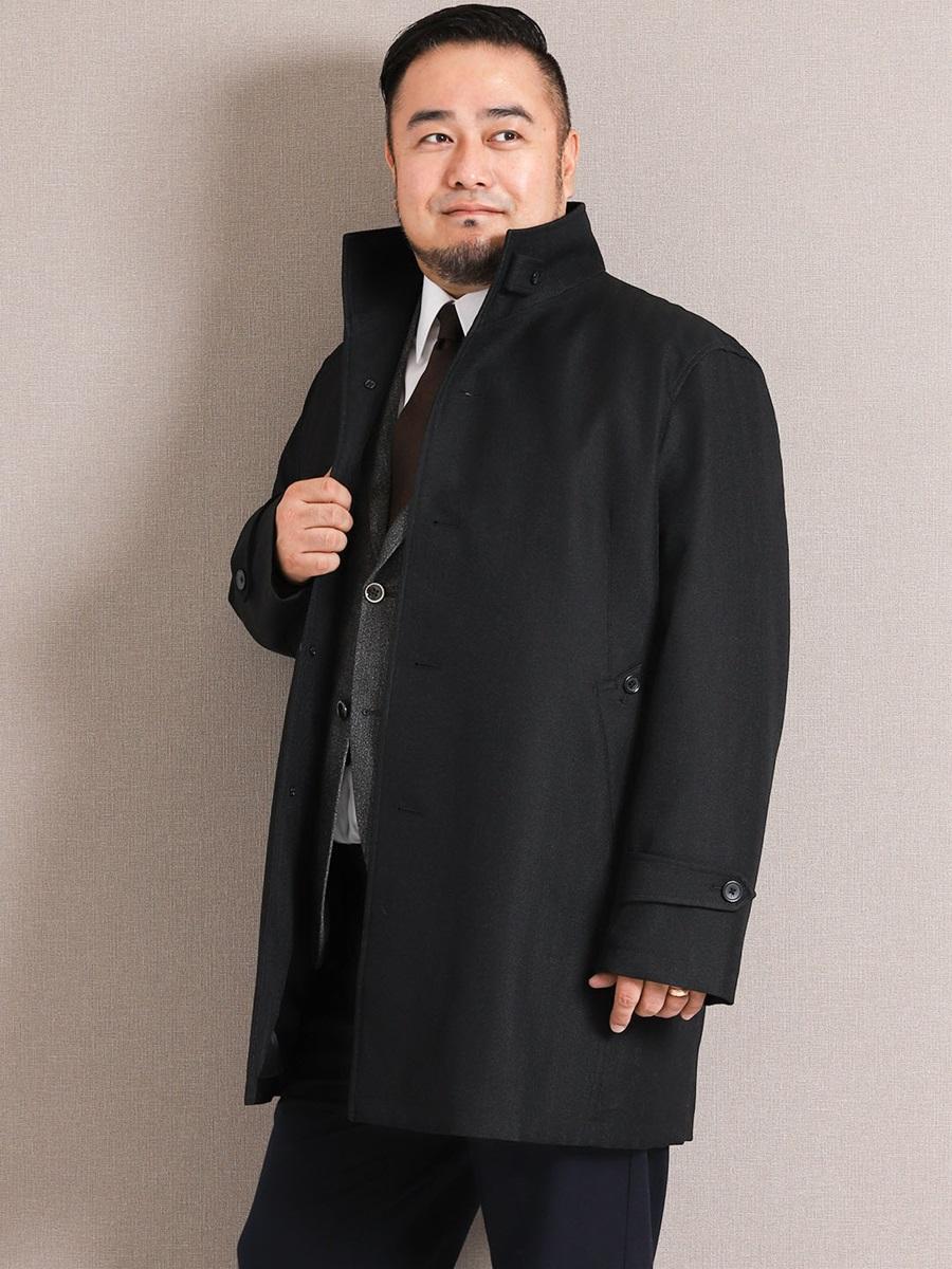 【大きいサイズ・メンズ】ライナー付き撥水防風イタリアンカラーコート ヘリンボン黒