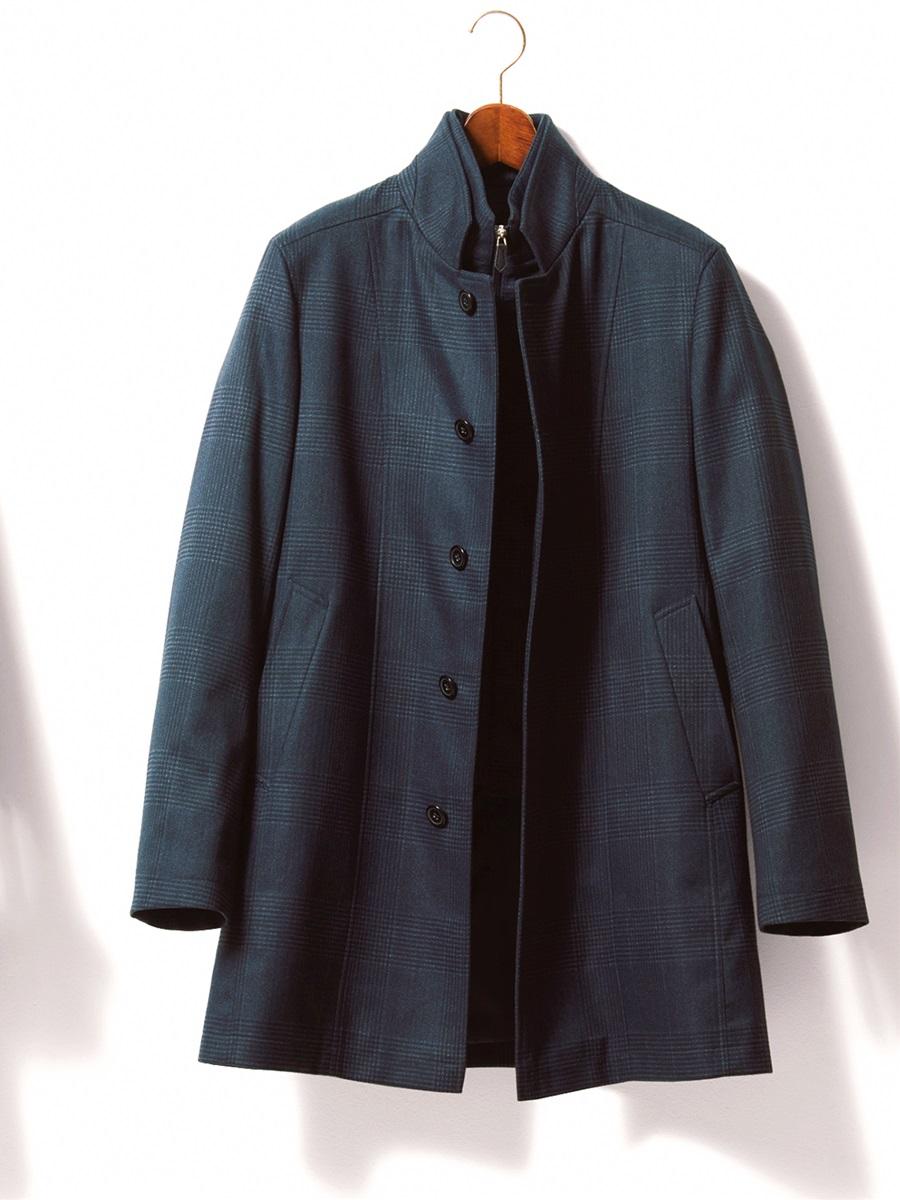 【大きいサイズ・メンズ】撥水スタンドカラーレイヤードコート 起毛プリント紺