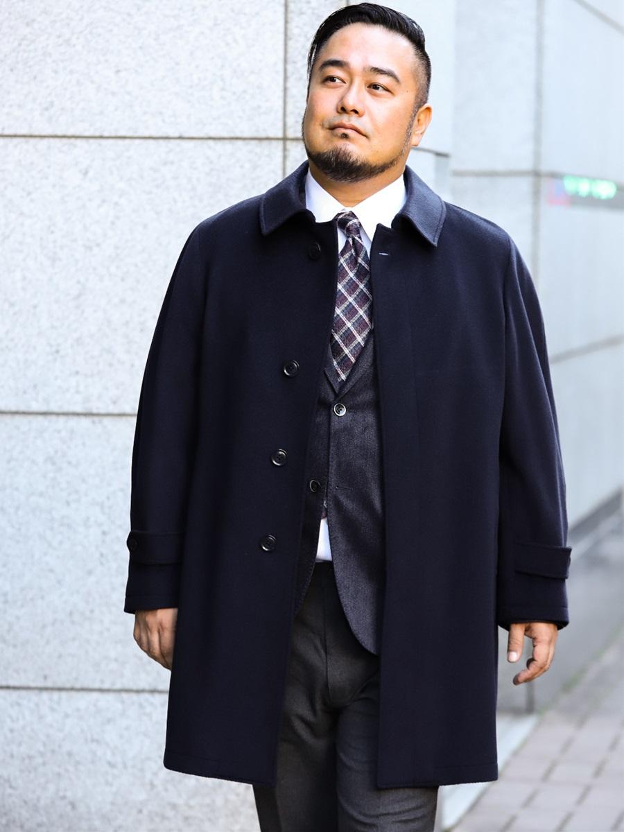【大きいサイズ・メンズ】ALEXANDER JULIAN(アレキサンダージュリアン)カシミヤ100%ステンカラーコート ヘリンボン紺