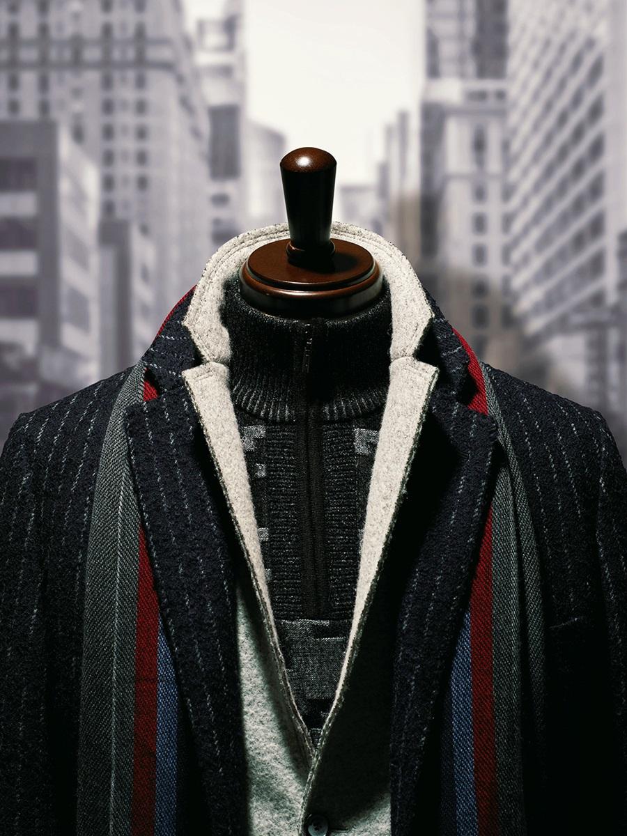 【大きいサイズ・メンズ】ウール混ストライプ柄チェスターハーフコート