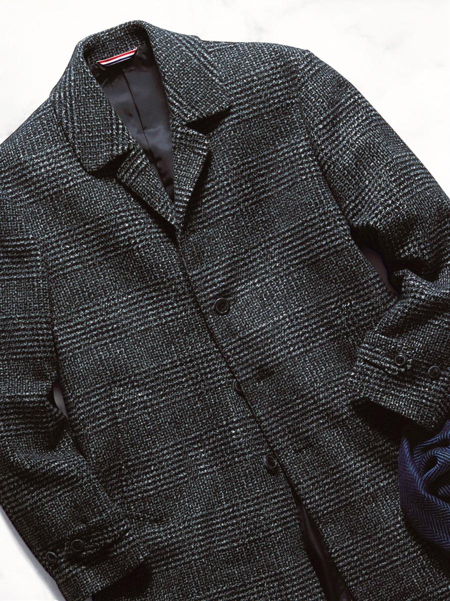 【大きいサイズ・メンズ】ウール混グレンチェック柄ステンカラーハーフコート