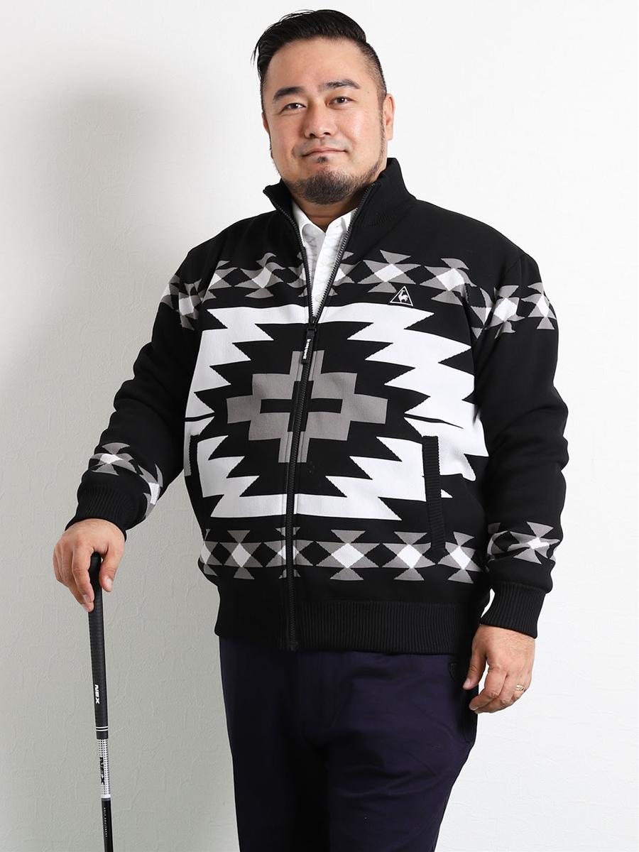 【大きいサイズ・メンズ】lecoqsportif GOLF(ルコック ゴルフ)キリム柄裏付セーターブルゾン
