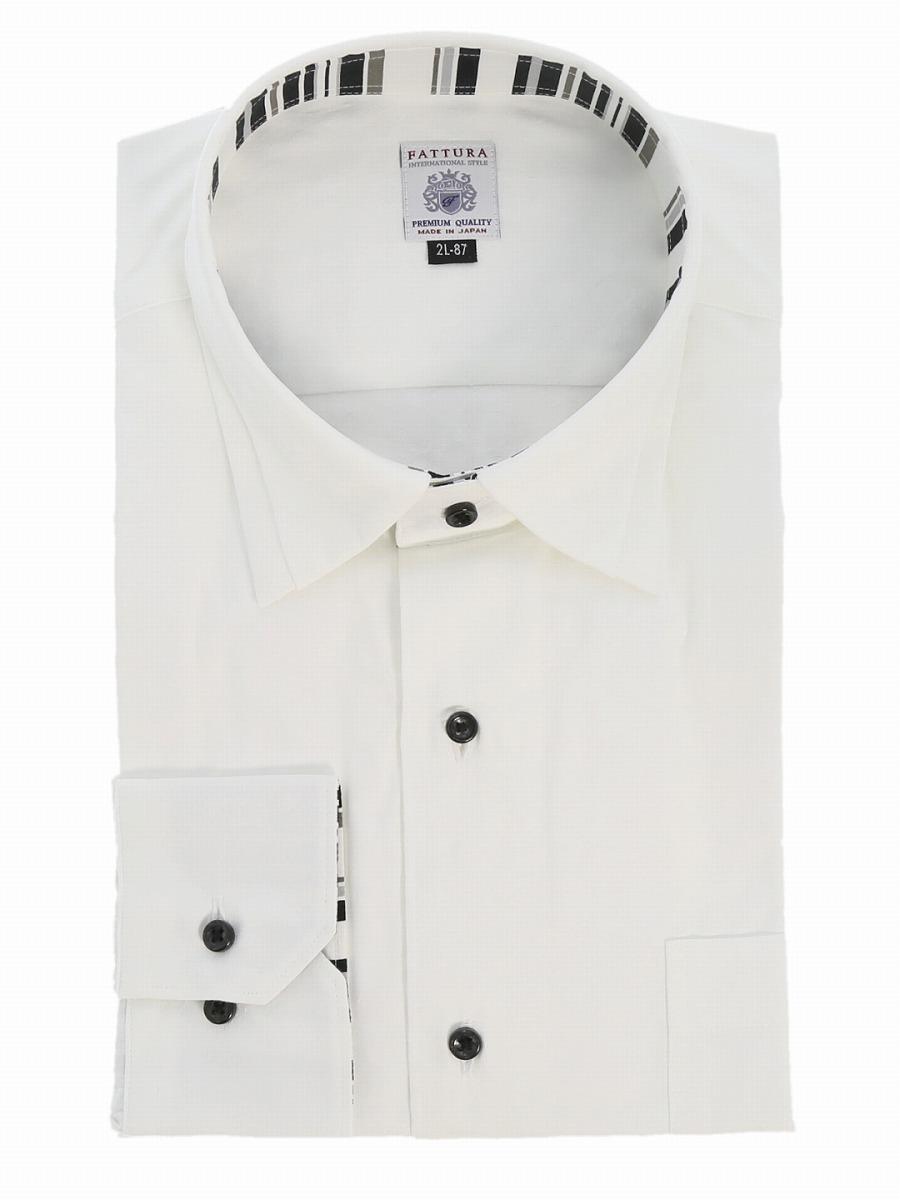 【大きいサイズ・メンズ】ファットゥーラ/FATTURA 綿100%日本製プリーツレギュラーカラー長袖シャツ 白  グランバック 大きいサイズ