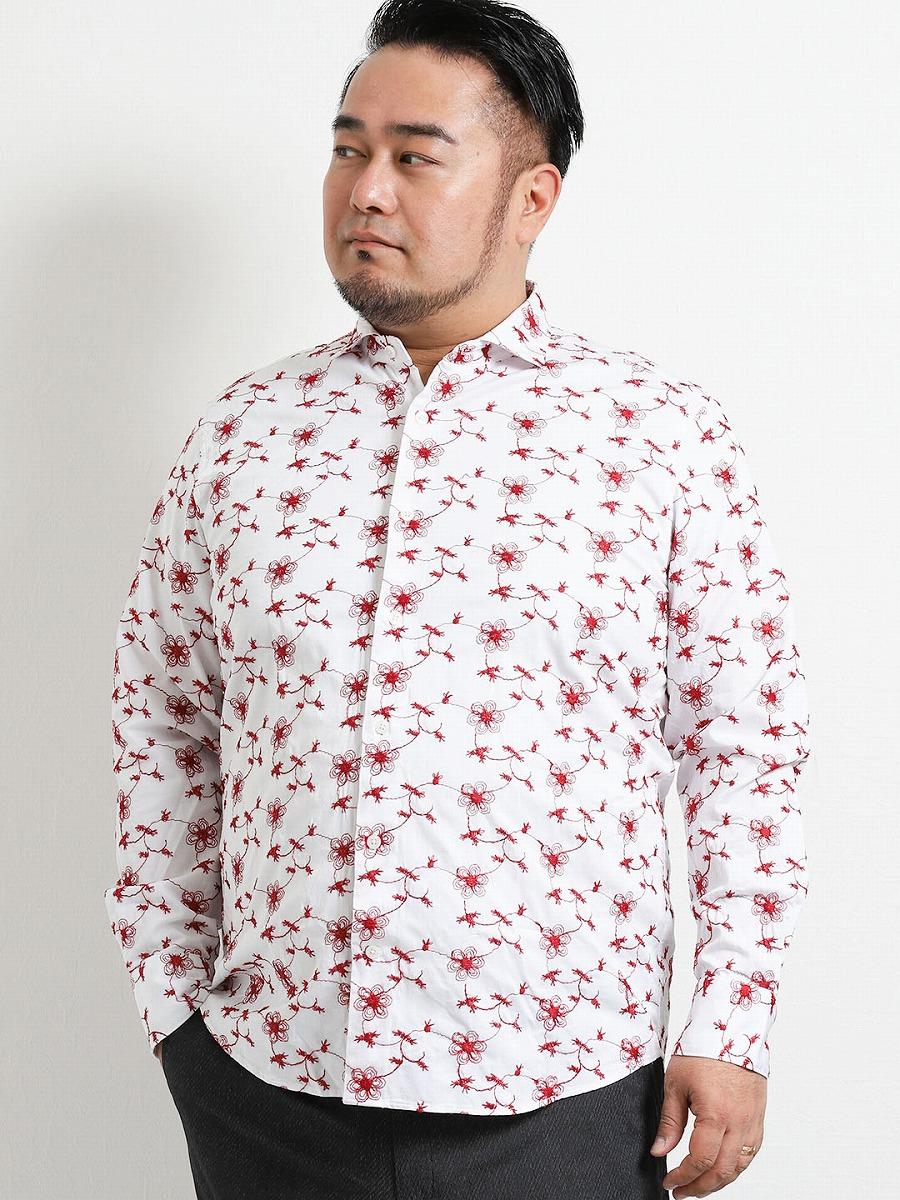 【大きいサイズ・メンズ】ジーステージ/G-stage 総柄刺繍切替カッタウェイ長袖シャツ