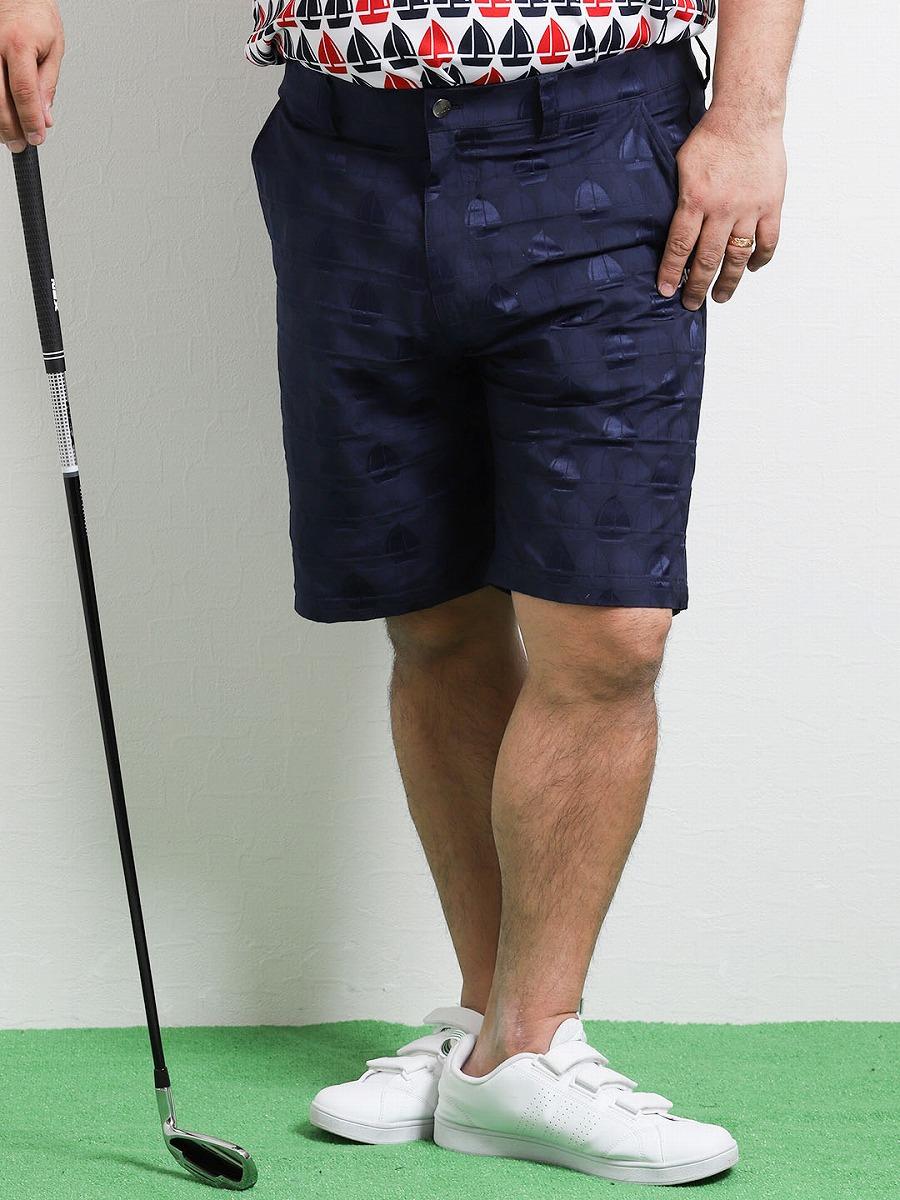 【大きいサイズ・メンズ】カッパゴルフ/Kappa Golf ヨット柄エンボスストレッチショーツ