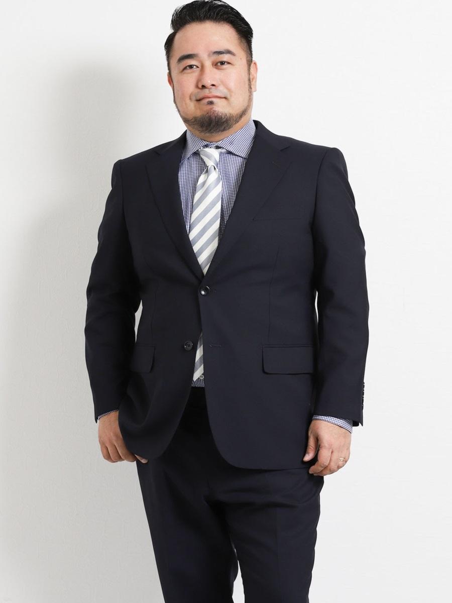 【大きいサイズ・メンズ】グランバック/GRAND-BACK 洗えるスラックス 無地紺 2ピーススーツ