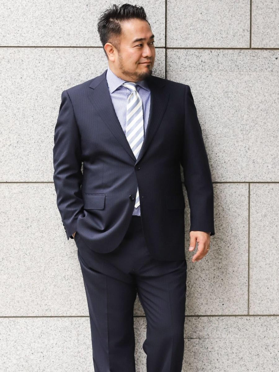 【大きいサイズ・メンズ】グランバック/GRAND-BACK 洗えるスラックス ストライプ紺 2ピーススーツ